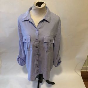 Chico's periwinkle button down top size 3